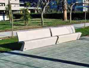 banc public design en beton avec dossier escofet