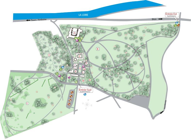 plan des 28 jardins du festival des jardins de chaumont 2014