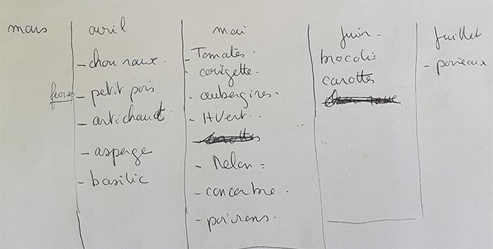 calendrier pour les légumes choisis pour notre potager